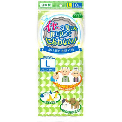 日本製 尿片廚餘寵物臭臭 強力消臭袋 10個裝 L SIZE (26x40cm) 661107