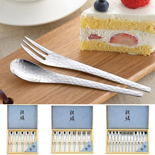 (預訂) Tamahashi 銀鱗鎚目不銹鋼咖啡匙及叉套裝 (5pcs / 8pcs / 12pcs)