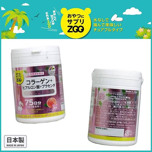 (預訂) 日本製 UNIMAT RIKEN ZOO 咀嚼片 膠原蛋白+透明質酸+胎盤素150粒 - 桃子口味 672908