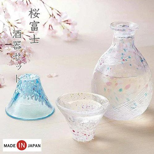 (預訂) 日本製 Toyo Sasaki Glass 東洋佐々木硝子 櫻富士招福杯禮盒套裝(雙酒杯+酒壺)