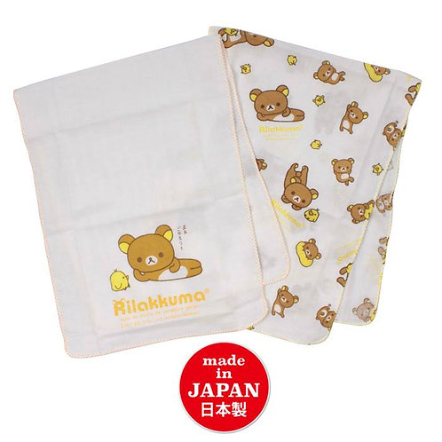 日本製 San-X 鬆弛熊 Rilakkuma 100%全綿浴用紗巾 2條裝 (27 x 70cm)  185843