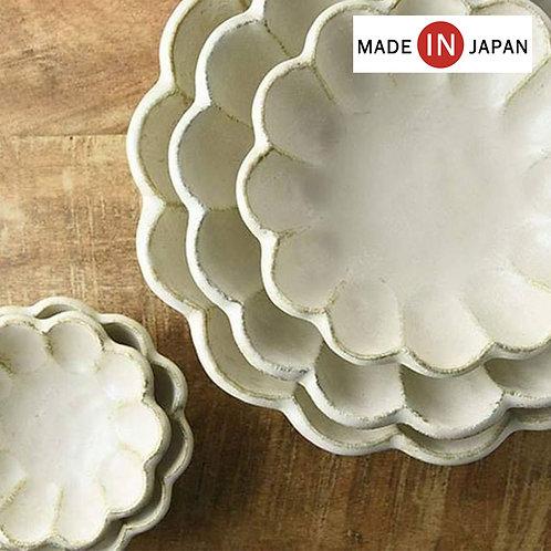 (預訂) 日本製 復古風美濃燒輪花瓷湯碟