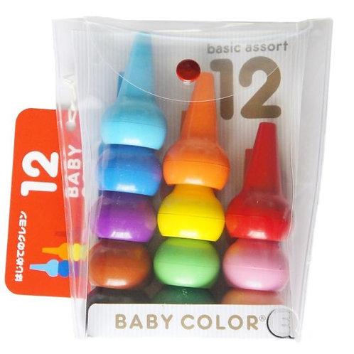 (現貨) 日本製 Baby Color (Aozora) 無毒無害積木蠟筆 12色 (2歳以上)
