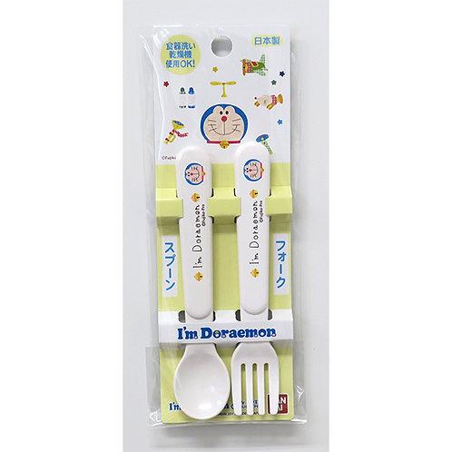 (只接受訂貨) 日本製 Bandai Doraemon 多啦A夢 叮噹 兒童叉匙套裝 113376
