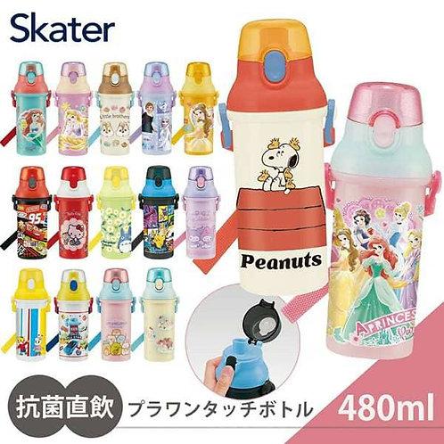 (預訂) 日本製 Skater One Touch 銀離子抗菌 直飲式水樽 (付肩帶) 480ml