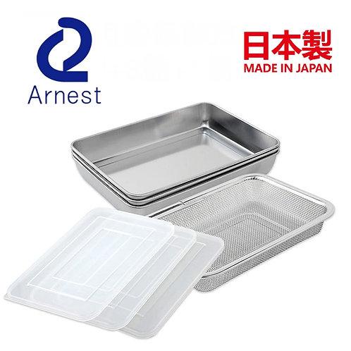 (約2月8日到貨) 日本製 Arnest 不鏽鋼多用途保鮮盒 附篩網料理盆 7件套裝 (3盤+3蓋+1網)