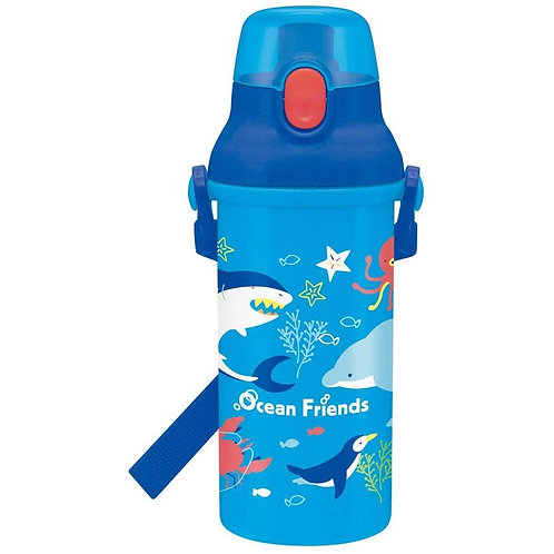 (現貨) 日本製 Skater Ocean Friends One Touch 直飲式水樽 (付肩帶) 480ml 443978
