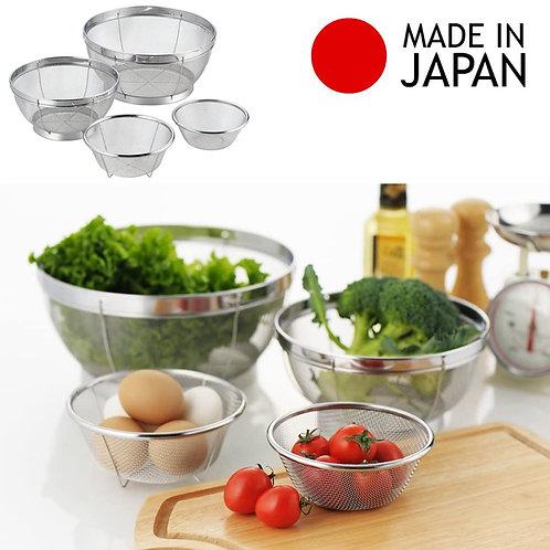 日本製 Yoshikawa 吉川不鏽綱筲箕套裝(一套4件)