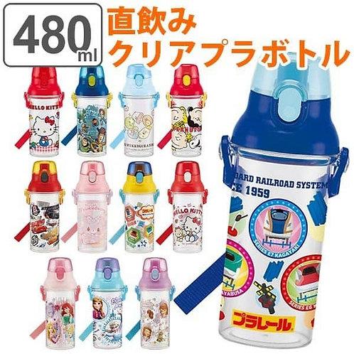 (預訂) 日本製 Skater One Touch 透明直飲式水樽 (付肩帶) 480ml