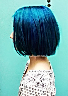 Womens Haircut and Color Blue Dye