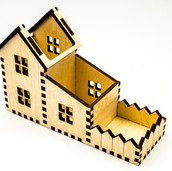 House Shape Desk Organizer Laser Cut
