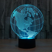 Planet Earth 3d illusion acrylic lamp
