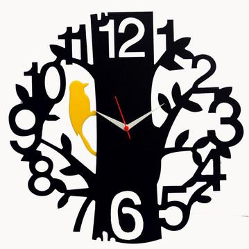 Tree Bird Black Wood Wall Clock Vector