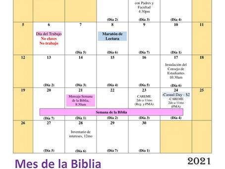 Calendario de septiembre 2021 (sujeto a cambios)
