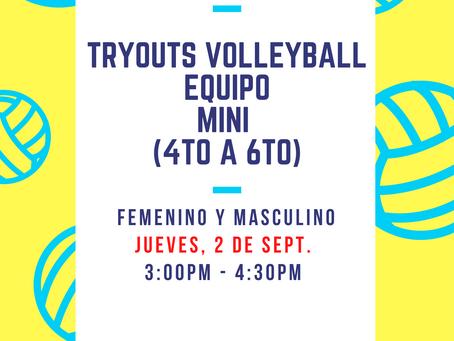 Mañana (jueves) - Tryouts de Volleyball, Equipo Mini