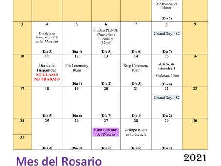 Calendario de octubre (revisado 7 octubre)