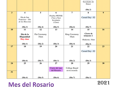 Calendario del mes de octubre 2021