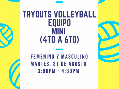Tryouts Volleyball (Equipos Mini y Juvenil)