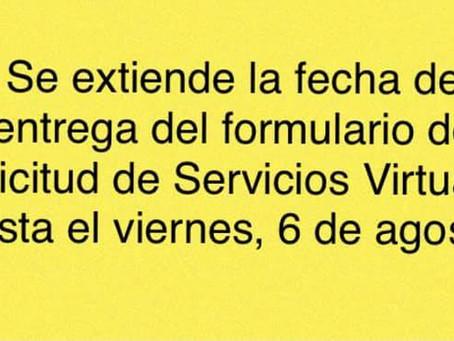 Entrega formulario de Solicitud de Servicios Virtuales