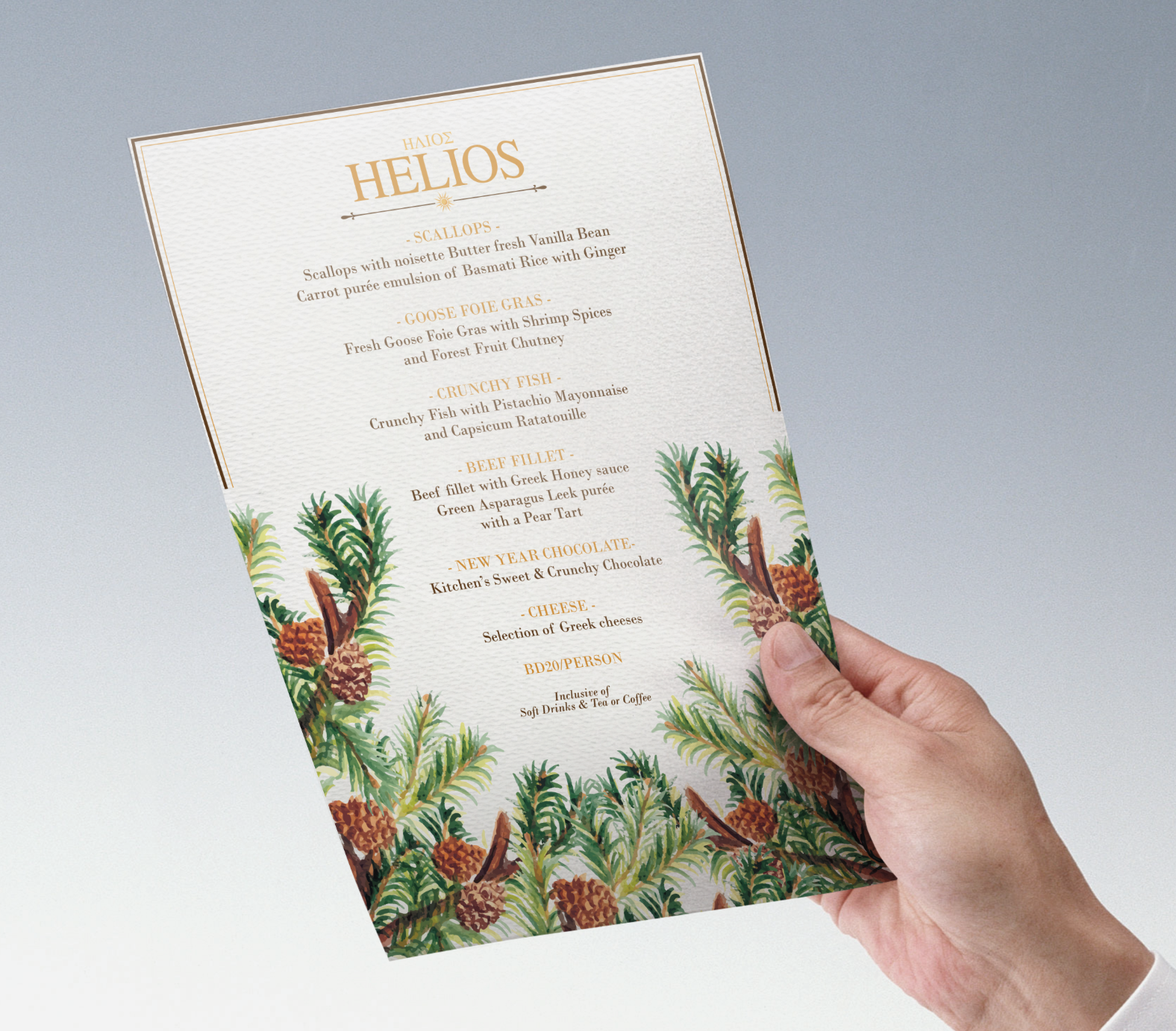 Helios Christmas Menu Design
