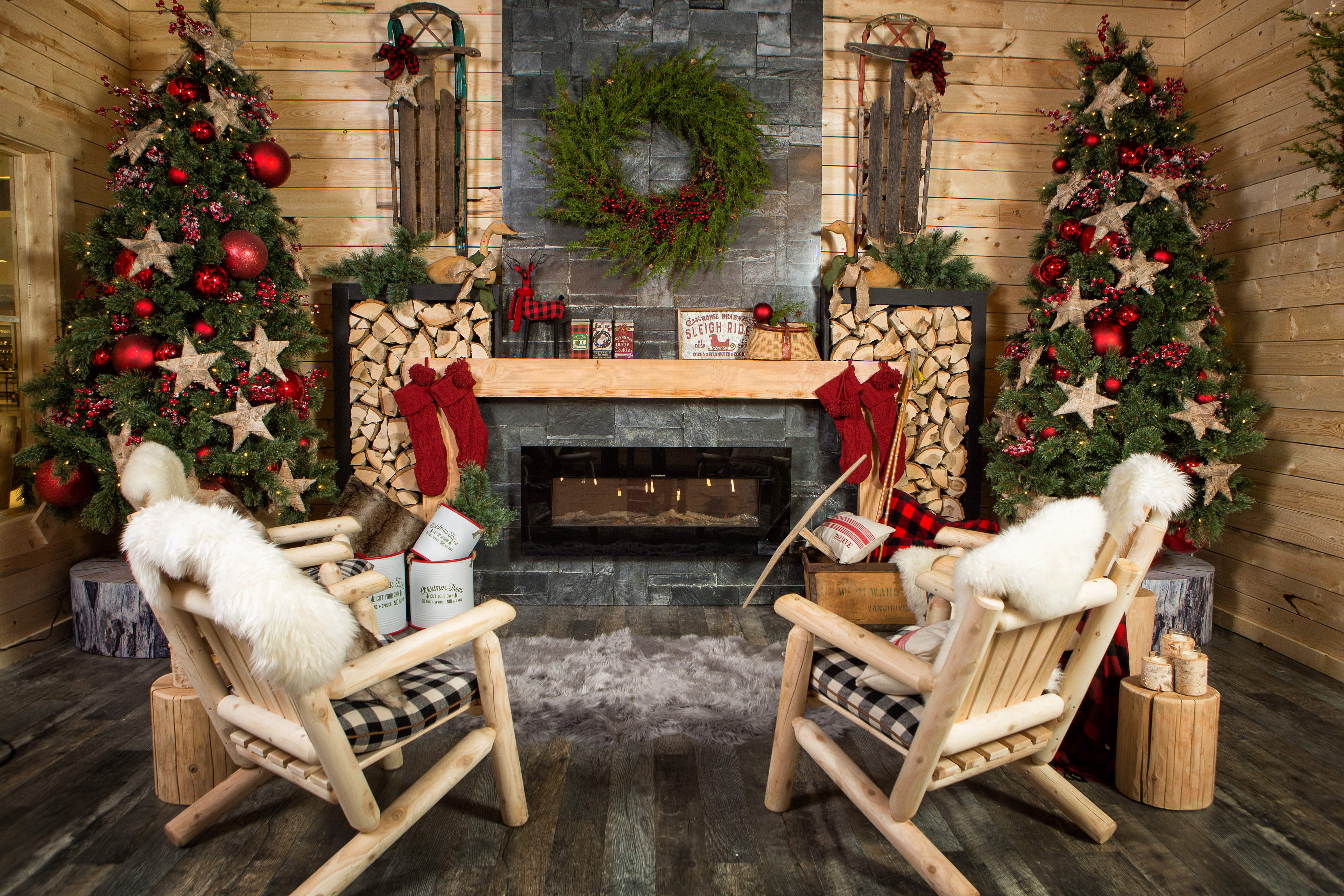Cozy looking Christmas cabin scene with a fireplace