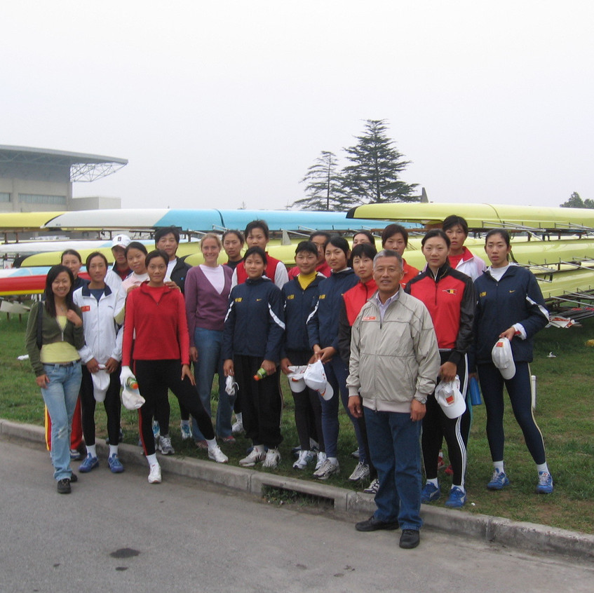 Visiting the Shanghai racing HQ with national coach Zhou