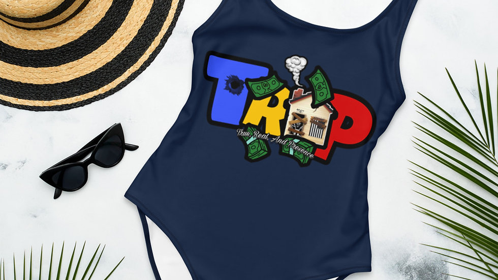 Navy Blue One-Piece TRAP Swimsuit