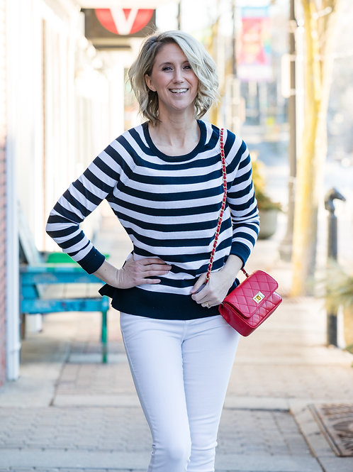 Navy and White Sweater