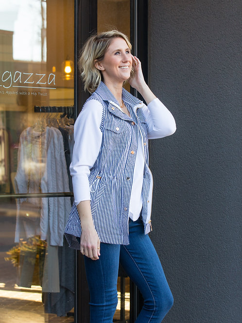 Navy and White Striped Vest