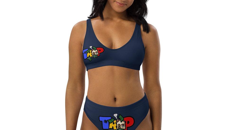 Navy TRAP High-Waisted Bikini