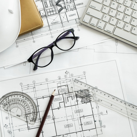 Image of engineering objects on workplac