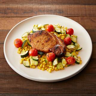 Pork Chop with Corn Succotash