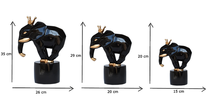 SCULPTURE FACETED ELEPHANT BLACK
