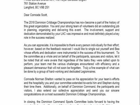 Dominion Command Sports Committee: Letter of Appreciation
