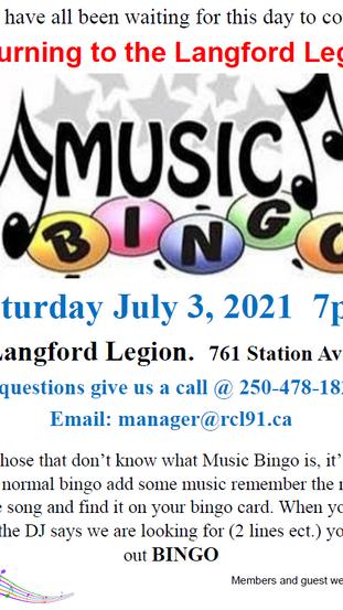 Music Bingo this Saturday 7pm!