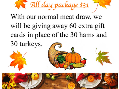 Thanks Giving Meat Draw October 3, 2020