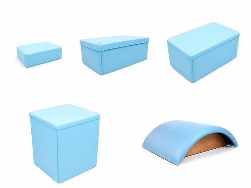 Kit Caixas + Meia Lua para Pilates - Azul Claro - Arktus