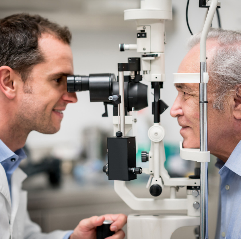 Eye examination Visual test is especially important for seniors to detect eye health problems and treat early