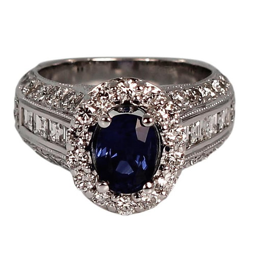 4.10 CARAT SAPPHIRE & DIAMOND HALO ENGAGEMENT RING