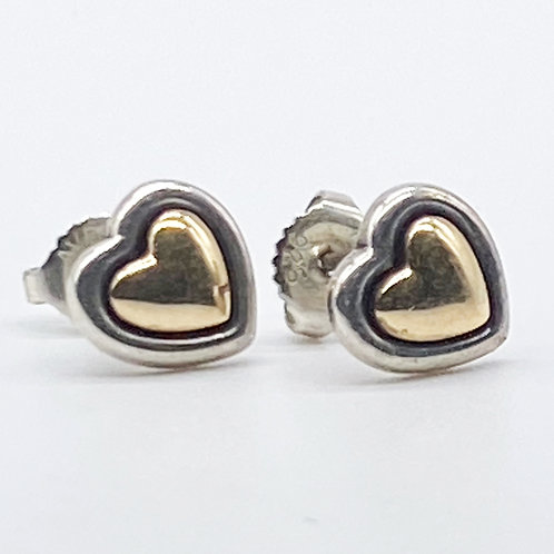 James Avery True Hear Sterling Silver & 14k Gold Earrings RETIRED