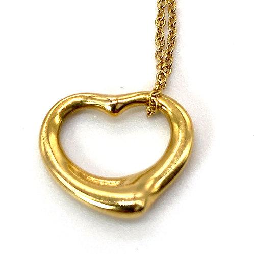 Tiffany & Company Open Heart Pendant & Chain designed by Elsa Peretti