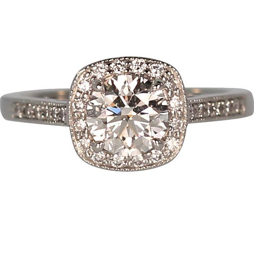 0.90 CARAT F SI1 HALO STYLE DIAMOND ENGAGEMENT RING
