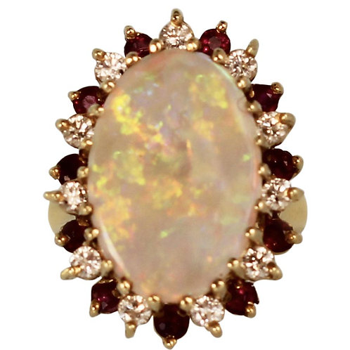 OPAL RING WITH DIAMONDS & RUBIES