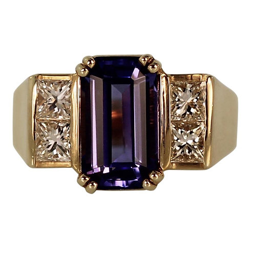 3 CARAT EMERALD CUT TANZANITE GOLD RING WITH 4 PRINCESS CUT DIAMOND ACCENTS
