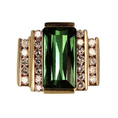5.4 CARAT TOURMALINE & DIAMOND RING COCKTAIL RING