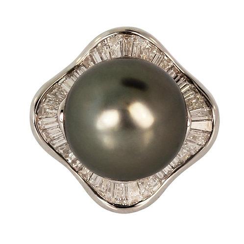 TAHITIAN PEARL & DIAMOND COCKTAIL RING
