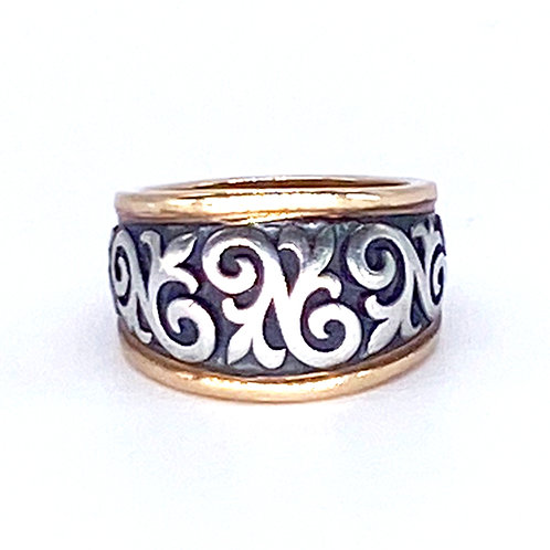 James Avery Scrolled Fleur-de-Lis Ring 14K Gold & 925 Sterling Silver