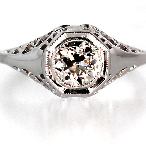 .94 CARAT DOMED FILLIGREE DIAMOND ENGAGEMENT RING - CIRCA 1930'S