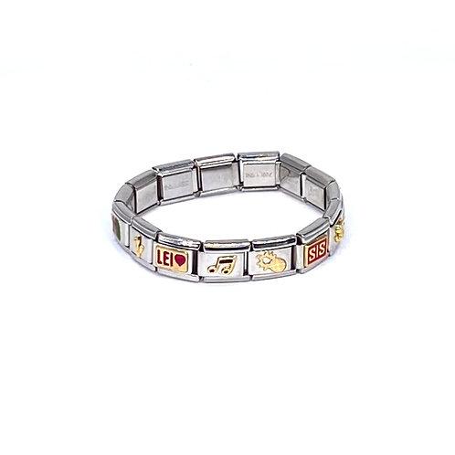 Stainless Steel Icon Bracelet w/Flip Flop Dangle