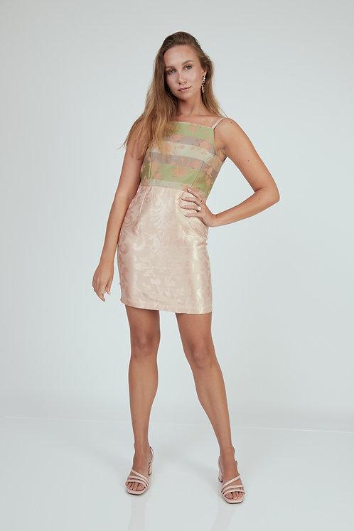 Green/Pink Rose Dress